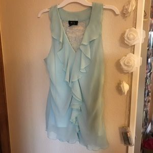 Light blue ruffles tank top